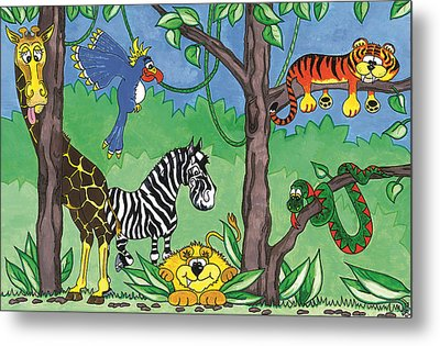 Jungle Party Metal Print by Kirsty Breaks