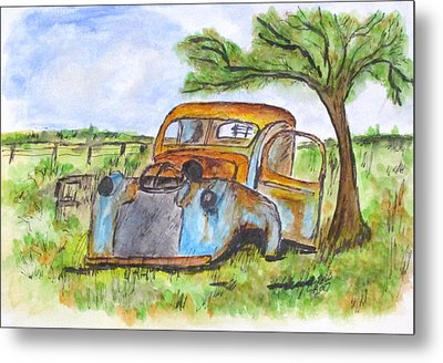 Junk Car And Tree Metal Print by Clyde J Kell