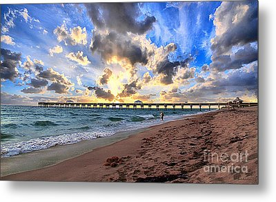 Juno Beach Pier Florida Sunrise Seascape D7 Metal Print by Ricardos Creations