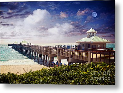 Juno Beach Pier Treasure Coast Florida Seascape Dawn C5a Metal Print by Ricardos Creations