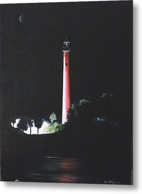Jupiter Lighthouse At Night Metal Print