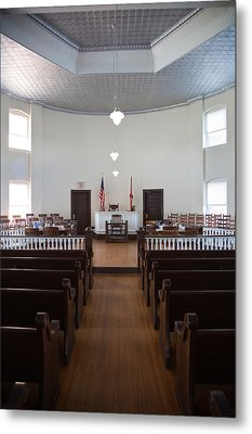 Jury Box In A Courthouse, Old Metal Print by Panoramic Images