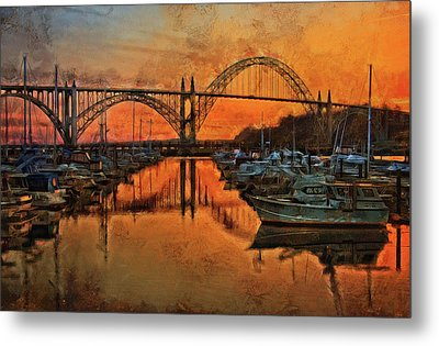 Just After Sunset On Yaquina Bay Metal Print