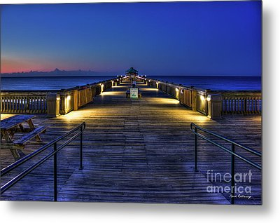Metal Print featuring the photograph Just Before Dawn Folly Beach Pier Charleston Sc Sunrise Art by Reid Callaway