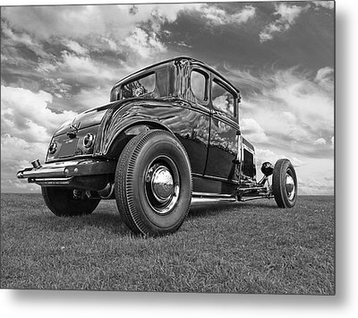 Just Chillin' - Black And White Metal Print