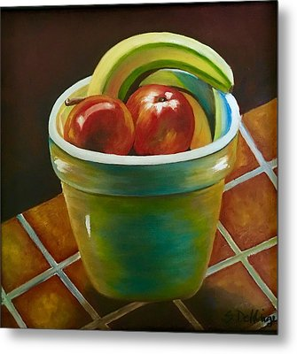 Metal Print featuring the painting Just Fruit Reflections by Susan Dehlinger