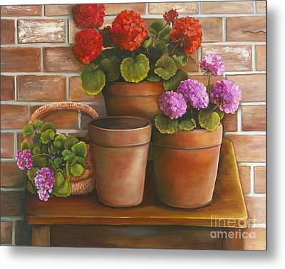 Metal Print featuring the painting Just Geraniums by Marlene Book