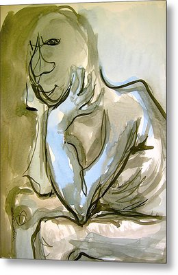 Metal Print featuring the painting Just Thinking by Mary Schiros