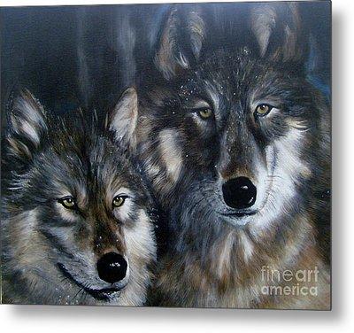 Just Us Two - Pair Of Snow Wolves Metal Print