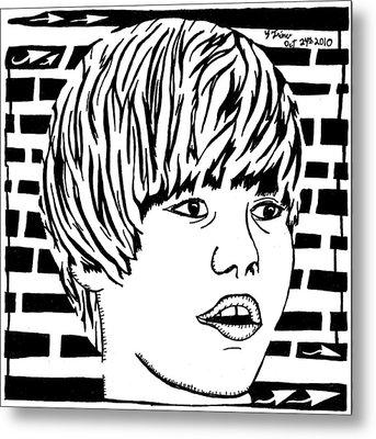Justin Bieber Maze Portrait Metal Print by Yonatan Frimer Maze Artist