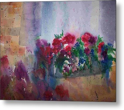 Jutta's Windowbox Metal Print by Sandy Collier