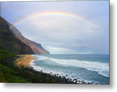 Kalalau Beach Rainbow Metal Print by Kevin Smith