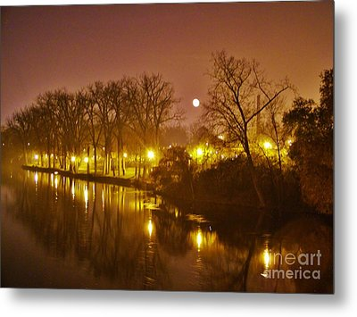 Kamm Island By Lamp Post Lights With Moonrise    Autumn      Indiana    Metal Print by Rory Cubel