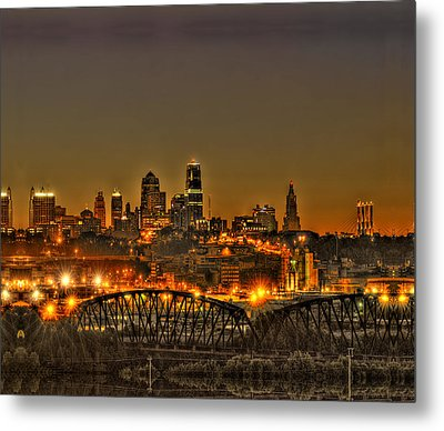 Kansas City Missouri At Dusk Metal Print by Don Wolf