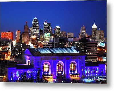 Kansas City Skyline At Night Metal Print