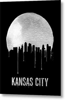 Kansas City Skyline Black Metal Print by Naxart Studio