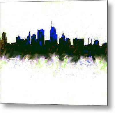 Kansas City Skyline Blue  Metal Print