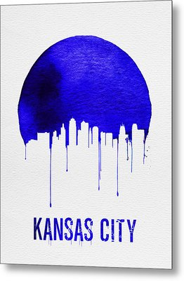 Kansas City Skyline Blue Metal Print by Naxart Studio