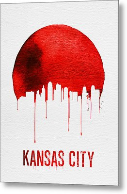 Kansas City Skyline Red Metal Print by Naxart Studio