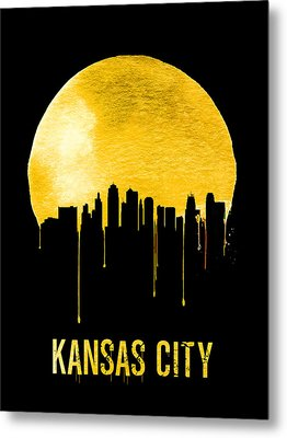 Kansas City Skyline Yellow Metal Print by Naxart Studio