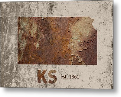 Kansas State Map Industrial Rusted Metal On Cement Wall With Founding Date Series 040 Metal Print by Design Turnpike