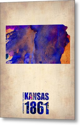 Kansas Watercolor Map Metal Print by Naxart Studio