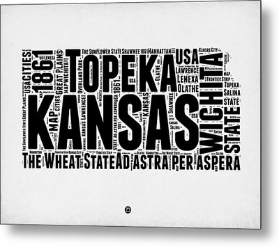 Kansas Word Cloud Map 2 Metal Print by Naxart Studio