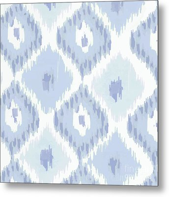 Kasbah Blue Ikat Metal Print by Mindy Sommers