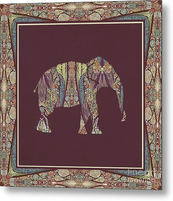 Metal Print featuring the painting Kashmir Patterned Elephant 2 - Boho Tribal Home Decor  by Audrey Jeanne Roberts
