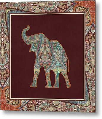 Kashmir Patterned Elephant 3 - Boho Tribal Home Decor Metal Print by Audrey Jeanne Roberts