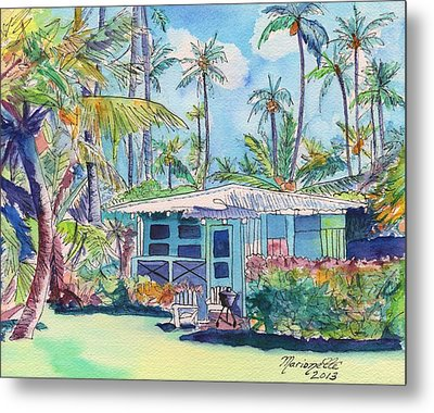 Kauai Blue Cottage 2 Metal Print by Marionette Taboniar