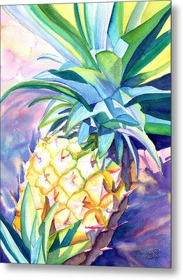 Metal Print featuring the painting Kauai Pineapple 3 by Marionette Taboniar