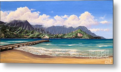 Metal Print featuring the painting Kauai Surf Paradise by Chad Berglund