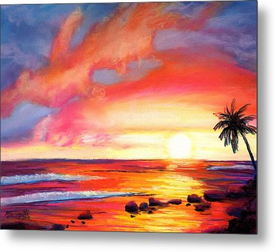 Metal Print featuring the painting Kauai West Side Sunset by Marionette Taboniar