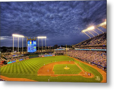 Kauffman Stadium Twilight Metal Print by Shawn Everhart