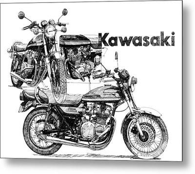 Kawasaki 900 Metal Print by Ron Patterson