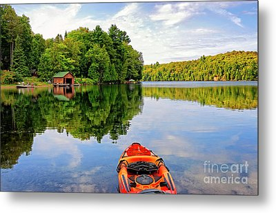 Kayak And Cottages In Gatineau Park Metal Print