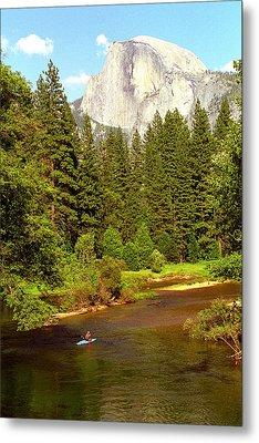 Kayak Below Half Dome Metal Print