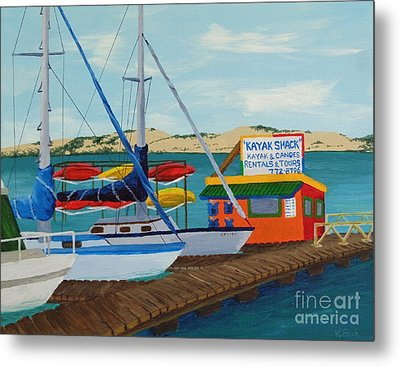 Metal Print featuring the painting Kayak Shack Morro Bay California by Katherine Young-Beck