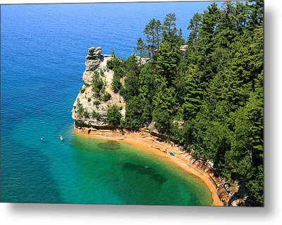 Kayaking At Miners Castle Metal Print