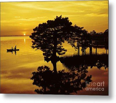 Kayaking At Sunset 2 Obx Metal Print
