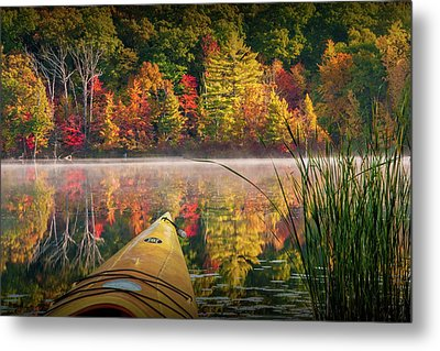 Kayaking On A Small Lake In Autumn Metal Print by Randall Nyhof