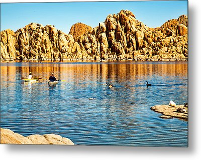 Kayaking On Watson Lake In Prescott Arizona Metal Print by Susan Schmitz