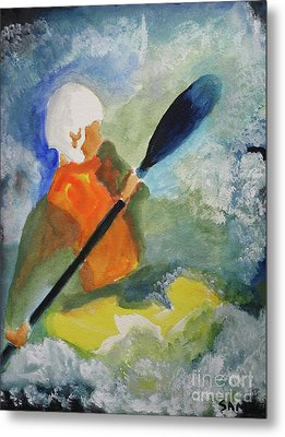 Metal Print featuring the painting Kayaking by Sandy McIntire
