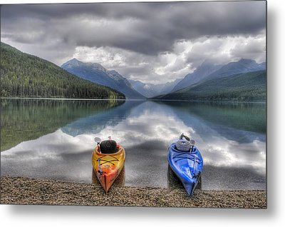 Kayaks On Bowman Lake Metal Print by Donna Caplinger