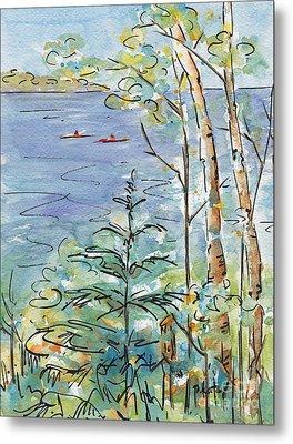 Kayaks On The Lake Metal Print