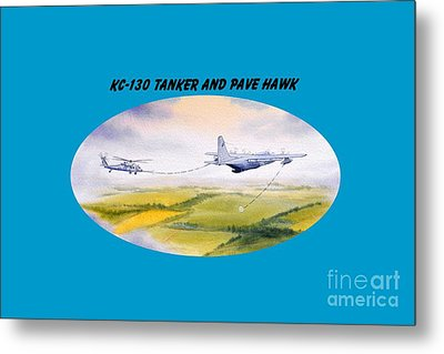 Metal Print featuring the painting Kc-130 Tanker Aircraft And Pave Hawk With Banner by Bill Holkham