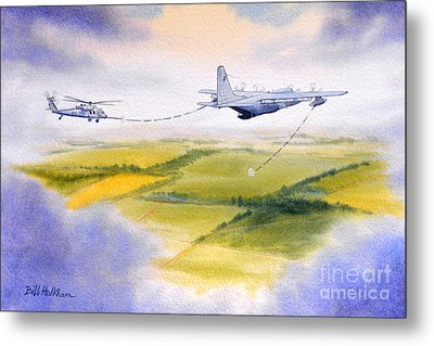 Metal Print featuring the painting Kc-130 Tanker Aircraft Refueling Pave Hawk by Bill Holkham