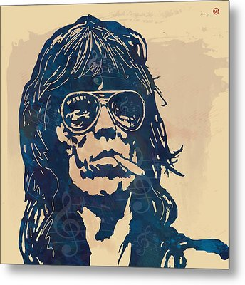 Keith Richards Pop Stylised Art Sketch Poster Metal Print