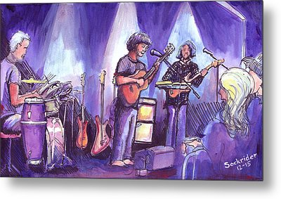 Metal Print featuring the painting Keller And His Compadres by David Sockrider